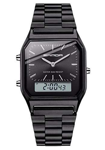 MLHXHX Relojes de cuarzo para hombre de negocios simples relojes de hombre moda retro correa de acero relojes negro