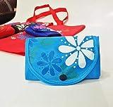 SDCVRE Bolsa de la Compra,Bolso de Compras Plegable para Mujer Bolso Floral Reutilizable Bolso Oxford de Gran Capacidad Bolso de supermercado Informal Bolso de Mano Duradero para Mujer, Azul