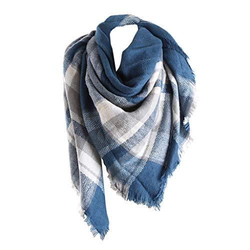 Bakicey XXL Damen schal dick strickschal karo Halstuch scarf poncho cape warm neu Winterschal Herbstschal Deckenschal weich karoschal, 140 * 140cm (03)