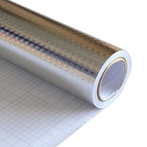 Modern Kitchen Wall Decor Metal Aluminum Foil Self Adhesive Wallpaper Roll PVC Vinyl Oil-proof Waterproof Sticker Desktop Decals,Cube Pattern,3mx60cm