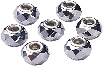 PH PandaHall 100pcs 14mm Electroplate Glass European Beads Large Hole Beads Rondelle Faceted product image