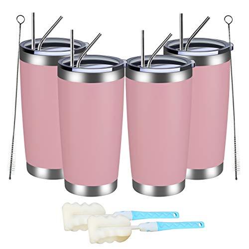 MEWAY Vaso de 597 ml 20 onzas con tapa y pajita, vaso de café de acero inoxidable de doble pared a granel, aislado al vacío, taza de café duradera con recubrimiento en...