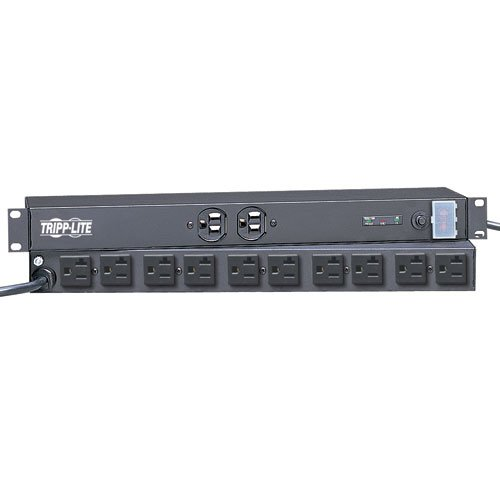 TRIPP LITE ISOBAR SURGE PROTECTOR RACKMOUNT 15/20A 12 OUTLET 15FT CORD 1URM