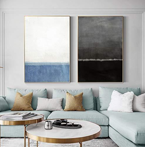 Nordic Baby Blue Poster e impresión moderna en blanco y negro HD imagen de pared para sala de estar grande abstracto lienzo pintura decoración 2pic 40x50cm sin marco