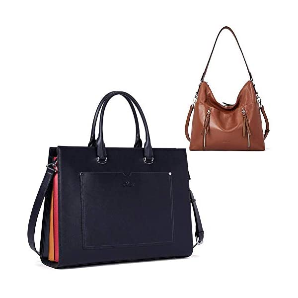 CLUCI Briefcase for Women Leather Slim 15.6 Inch Laptop Business Shoulder Bag Black CLUCI Women Genuine Leather Hobo Handbags Designer Top Handle Tote Large Purses Fashion Ladies Shoulder Bag 1