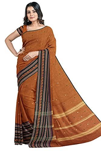 SENSAN Women's Handloom Chettinad Cotton Saree with Blouse Piece [SKU:4017]