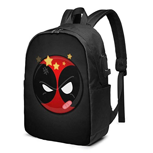 AOOEDM USB Backpack 17 in D-Ead_Pool Laptop Backpack with USB Charging Port Headphone,Large Capacity Business Commute Backpack,College Women Men Backpack Travel Bag 17 Inch