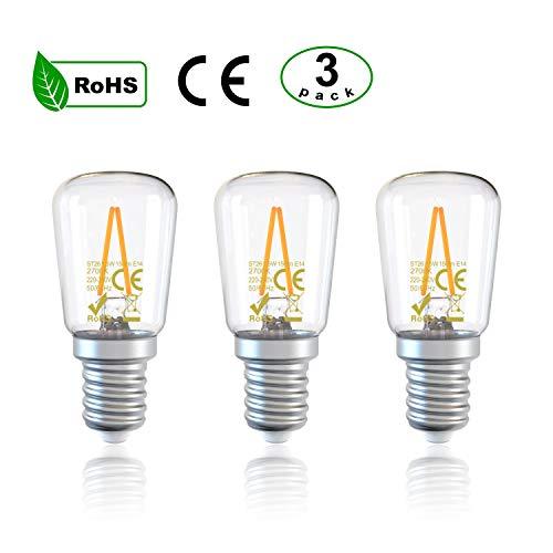 DGE 3Pack E14 Bombillas LED Refrigerador ST26 1.5W 150Lm LED Bombilla Filamento, Equivalente a 15W,Bombilla Campana Extractora,luz Blanca Cálida 2700K,No Regulable[Clase de Eficiencia Energética A++]