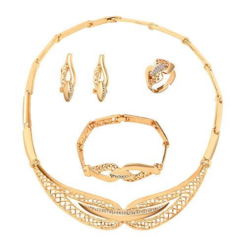 CT Geweldige prijs Goud Sieraden Sets Kristallen Ketting Armband Oorbellen Ring Nigeriaanse Bruiloft Party Vrouwen Mode Sieraden Set