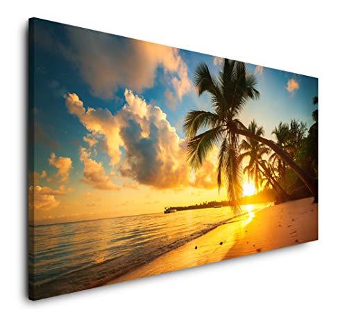 Paul Sinus Art Palmen am Strand 120x 60cm Panorama Leinwand Bild XXL Format Wandbilder Wohnzimmer Wohnung Deko Kunstdrucke