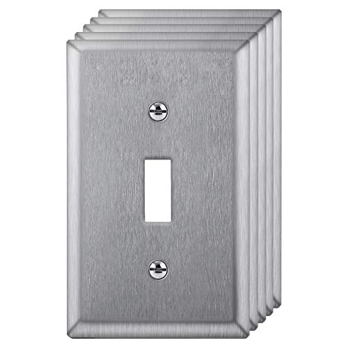 [5 Pack] BESTTEN 1-Gang Toggle Metal Wall Plate, Anti-Corrosion Stainless Steel Switch Cover, Industrial Grade Stainless Steel, Standard Size, Screws Included, Silver