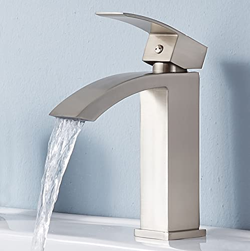 Friho Single Handle Waterfall Bathroom Vanity Sink Faucet with Extra Large Rectangular Spout,...