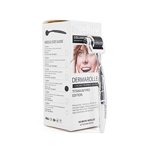 Dermaroller 1,0 mm Derma Roller 1 mm 192 Nadeln Titan Real Needle Hautpflege Haarwuchs Falten Zellregeneration Aknenarbe Mikronadelwalze Mikronadel-Kit Gesichts- und Körperwalze