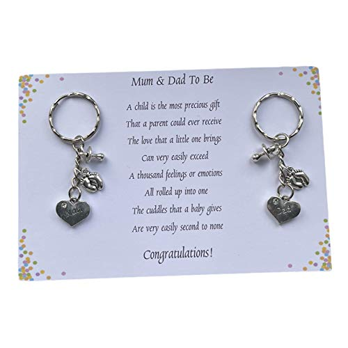 Poem Mum Dad To Be Pregnancy Expecting Handmade Charm Keyring baby shower...