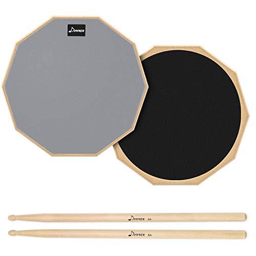 Donner Practice Pad Drum Übungspad 12 Zoll/30.48cm mit Drumsticks, Grau