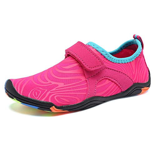 FANTURE Girls & Boys Water Shoes Lightweight Comfort Sole Easy Walking Athletic Slip on Aqua Sock(Toddler/Little Kid/Big Kid) U4JSX002-Pink-32