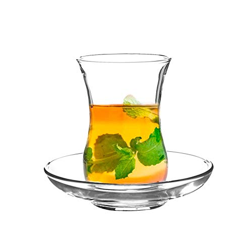 Rink Drink 12pc Klasik Turkish Tea Glasses & Saucers Set - Tulip Glass Shape - Clear
