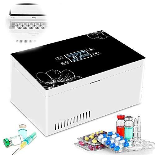WHR-HARP Neveras de Insulina Eléctrico, Pantalla LCD 2-8 ° C Caja Refrigerada a Temperatura Constante, Pequeñas Portátil Caja, para Insulina Diabética Refrigerada y Temperatura, Blanco