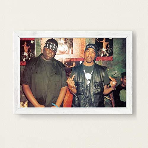 lubenwei Leinwand Malerei berüchtigt Big Biggie Smalls Tupac 2PAC Shakur Hip Hop Gangsta Rap Musik Kunst Malerei Leinwand Poster Wand Wohnkultur (AP-1511) 50x70cm Kein Rahmen