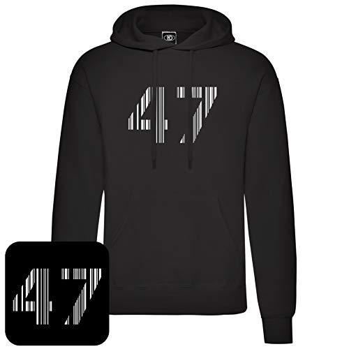 Nicram Designs 47 Barcode Logo Pullover Hoodie (L) Black