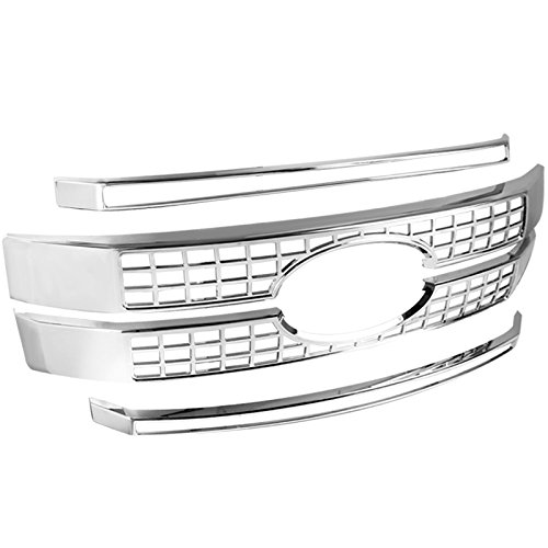 Spec-D Tuning for Ford F250 F350 F450 F550 SuperDuty Front Hood Grille Grill Overlay Chrome Cover