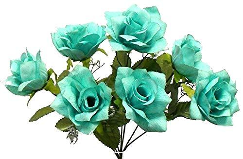 SmartMe – 7 Aqua / Teal 4″ Open Roses Artificial Silk Flowers Wedding Bouquet Fake Faux, for Wedding and Craft Supplies Silk Flower Arrangements