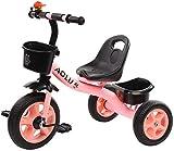 Knoijijuo Rojo/Rosa para Las Niñas Triciclos, Triciclo para Niños De Edad De 2/3/4/5 / Años De Edad Niños, 3 Wheeler Pedal Bike Ride On, Asiento Ajustable,Rosado