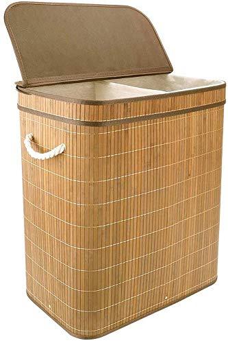 Vesgantti Panier à Linge Pliable en Bambou 100L Rangement Linge de 2 Compartiments Multifonction avec Poignée Couvercle et Doublures Amovibles Lavable (Naturel+Couvercle Rabat)