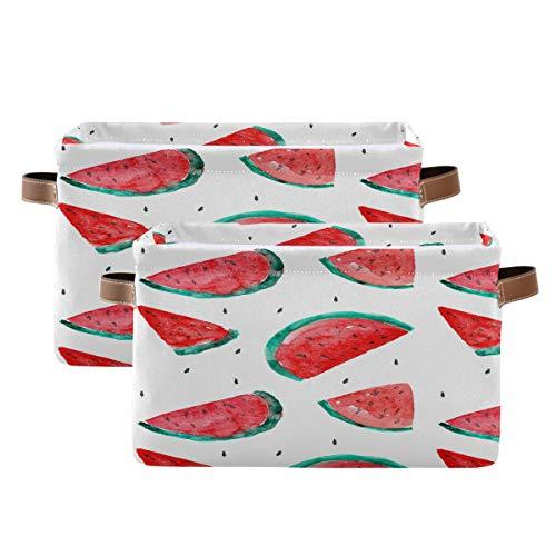 Tropicallife Cesta de almacenamiento F17 con diseño de sandía y fruta, caja de almacenamiento con asa, 2 unidades, plegable de tela de lona para guardar guardería, hogar, oficina, mesa de lavandería