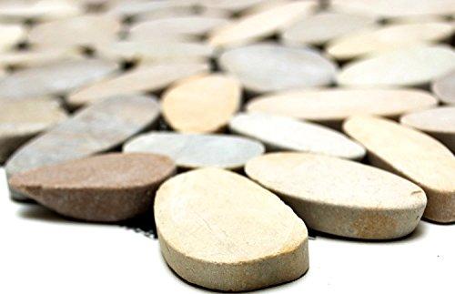 Mosaik-Netzwerk MosaikflieseKiesel geschnitten uni TAN 5/7 Flußkiesel Steinkiesel Flussstein Kieselmosaik, Mosaikstein Format: 30-70x9 mm, Bogengröße: 305x305 mm, 1 Bogen/Matte