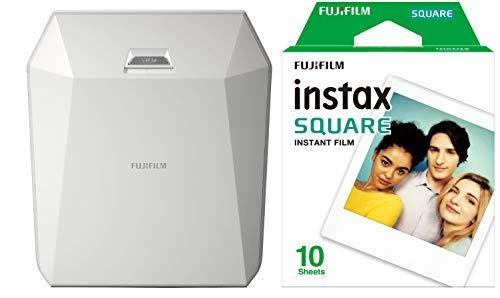 Fujifilm Instax Share SP-3 Drucker (mit WiFi, geeignet für Sofortbildkamera) weiß & Fujifilm Instax Square WW 1 Film