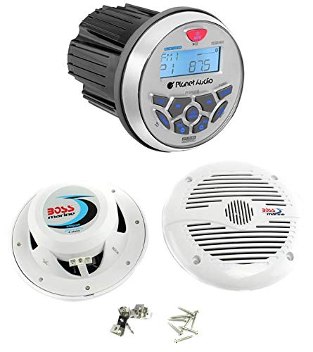 Planet Audio PGR35B 3.5 inch Gauge Marine Bluetooth MP3/ Radio Receiver with USB and AUX Ports and 2 BOSS MR60W Marine 400 Watt 6.5 inch Speakers