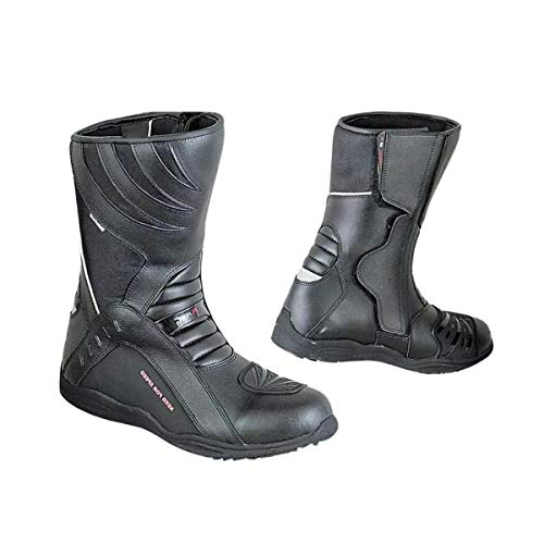 BIESSE - Stivali da Moto in pelle, Urban, Touring, Scooter, misure dal 40 al 45, impermeabili, colore Nero, Rpro boots, 3M Alta Visibilità (nero, 40)
