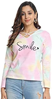 JUNEBERRY Tie Dye Regular Fit T-Shirt for Women.