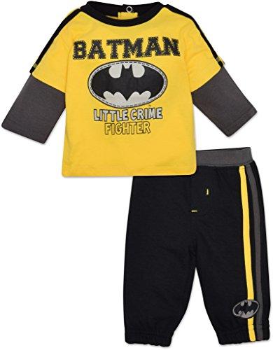 Baby jongens Batman lange mouw shirt en broek Set - geel, kleine misdaad vechter