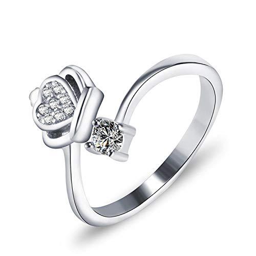 LYWZX Ringe Für Damen Ring Aus 925Er Sterlingsilber, Offener Ring, Einstellbare Größe, Einzigartiges Geschenk Für EIN Hochzeitsjubiläums-Verlobungsschmuckkronenkristall-Zirkonring