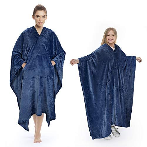 Catalonia Elegante Poncho Manta de felpa cómoda manta de felpa para adultos mujeres hombres niños manta abrigo abrigo cubierta hogar o al aire libre 200 x 140 cm azul marino