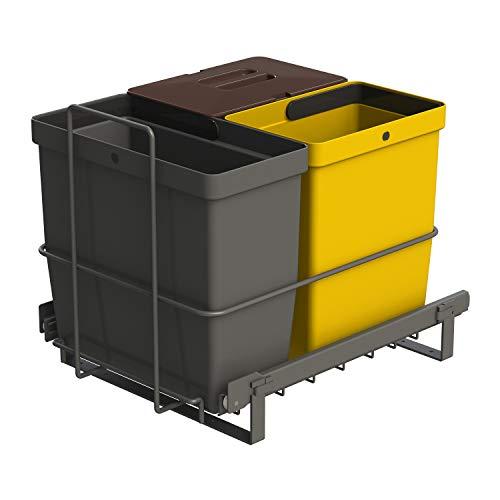 LM 64/3a Einbau Mülleimer ausziehbar mit 3 Abfalleimer (1x11L, 2x8L) in Farben anthrazitgrau, gelb, braun - Trio Mülltrennsystem für die Küche Unterschrank- Korbauszug anthrazit 32,8 x 43,3 x 35,4cm