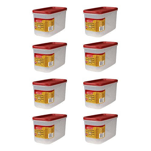 Rubbermaid 5 Cup Dry Food Storage - Clear Base, Red Lid - 8 pack