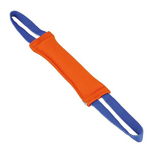 Sprenger Hunde Aportierspielzeug aus Baumwolle I Beisswurst für Zerrspiele I Tauziehen auch für große Hunde, Bringsel Größe M (31 x 8 cm) - orange/blau