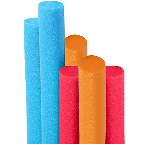 Deluxe Floating Pool Noodles Foam Tube, Super Thick Noodles for Floating in The Swimming Pool, Assorted Colors, 52 Inches Long (6-Pack)