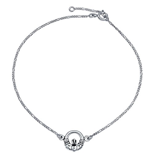 Celtic Claddagh Heart Anklet Figaro Chain Ankle Bracelet For Women 925 Sterling Silver Adjustable 9 To 10 Inch Extender