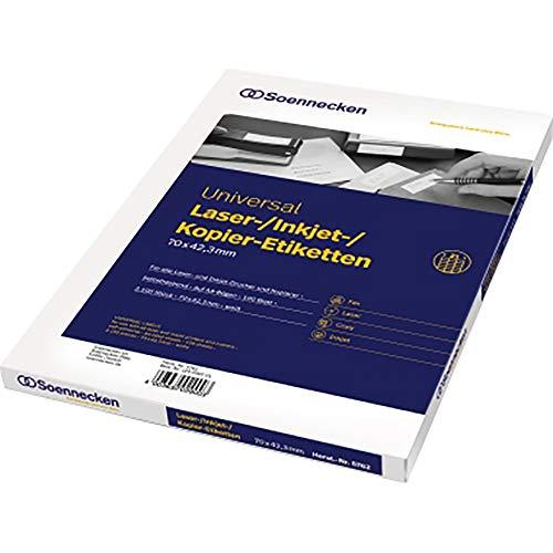 SOE Etikett 5762 70x42,3mm 2.100St für Kopierer Laser Inkjetdrucker
