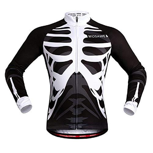 CZUP - Maillots de ciclismo para hombre, de manga larga, transpirable, con calavera XL