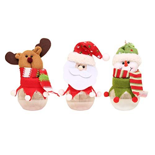 YeahiBaby 3 Stücke Weihnachten Geschenkbox Geschenkdose Plüschpuppe Süßigkeiten Gläser Dose Vorratsdose Keksdose Pralinenschachtel für Xmas Party Gastgeschenk