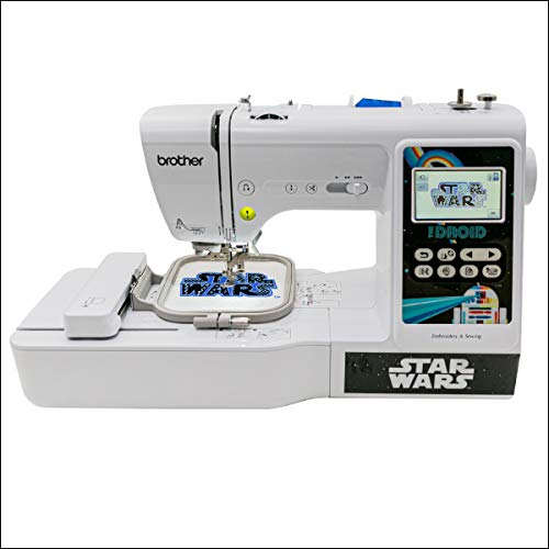 """Brother Sewing and Embroidery Machine, 4 Star Wars Faceplates, 10 Downloadable Star Wars Designs, 80 Designs, 103 Built-In Stitches, 4"""" x 4"""" Hoop Area, 3.2"""" Touchscreen, 7 Included Feet"""