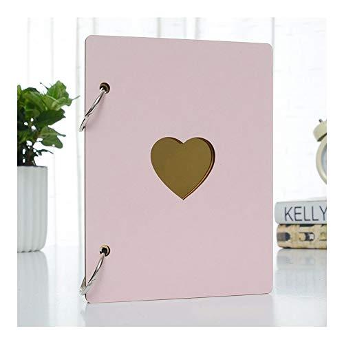 6 Pouces Album Photo bébé Croissance Bois plastifié Famille mémoire Artisanat commémorative Anniversaire Enregistrement Bricolage Cadeaux Amour Décor Coeur (Color : Pink)