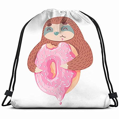 Leuke Cartoon Luiaard Roze Donutcolorful Dier Schoonheid Mode Trekkoord Rugzak Tas Voor Kids Jongens Meisjes Tieners…