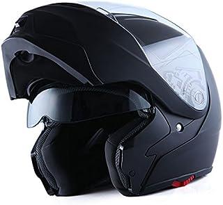1Storm Motorcycle Street Bike Modular/Flip up Dual Visor/Sun Shield Full Face Helmet (MattBlack, X-Large)