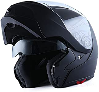 1Storm Motorcycle Street Bike Modular/Flip up Dual Visor/Sun Shield Full Face Helmet (MattBlack, Large)